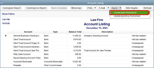 Screenshot of QuickBooks Desktop Export Account Listing