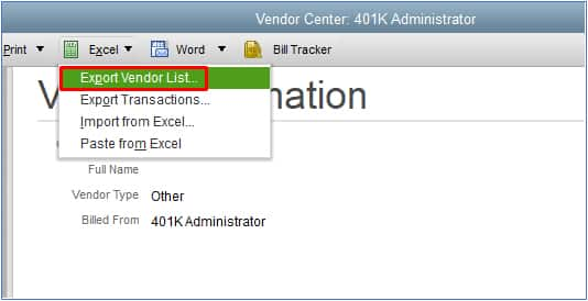 Screenshot of QuickBooks Desktop Export Vendor List