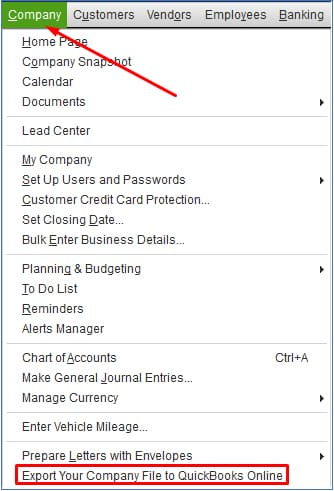 Screenshot of QuickBooks Desktop export your company file from QuickBooks Desktop