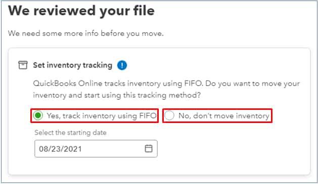 Screenshot of QuickBooks Desktop Import Inventory