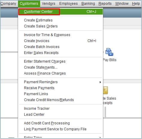 Screenshot of QuickBooks Desktop Navigate to the Customer Center