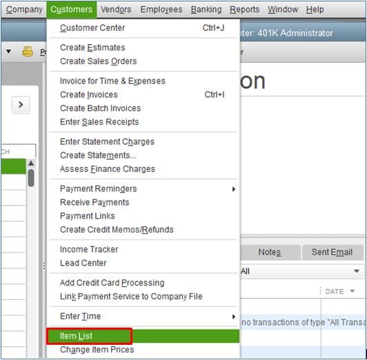 Screenshot of QuickBooks Desktop Navigate to Item List