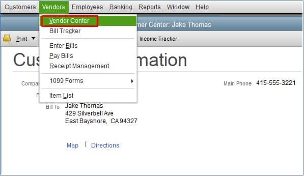 Screenshot of QuickBooks Desktop Navigate to the Vendor Center