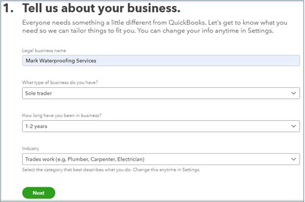 Screenshot of QuickBooks Desktop Provide company information
