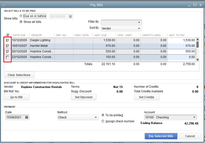 Screenshot of QuickBooks Desktop Selecting Bills to be Paid
