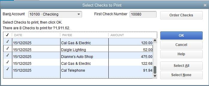 Screenshot of QuickBooks Desktop Select Checks to Print