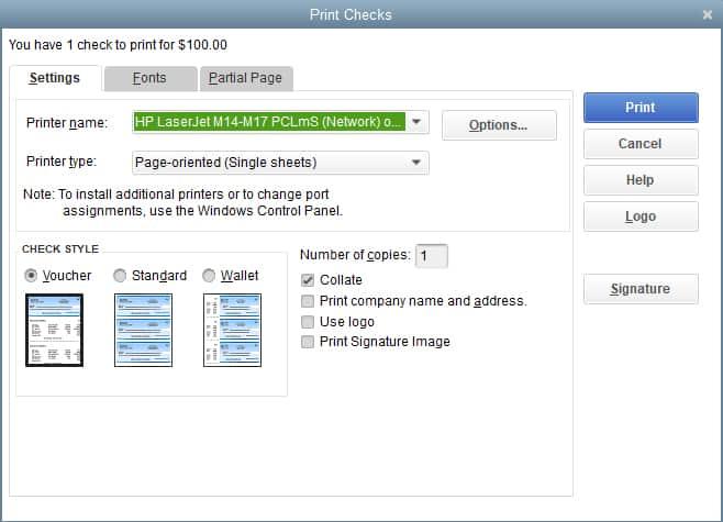 Screenshot of QuickBooks Desktop Select Printer and Check Style