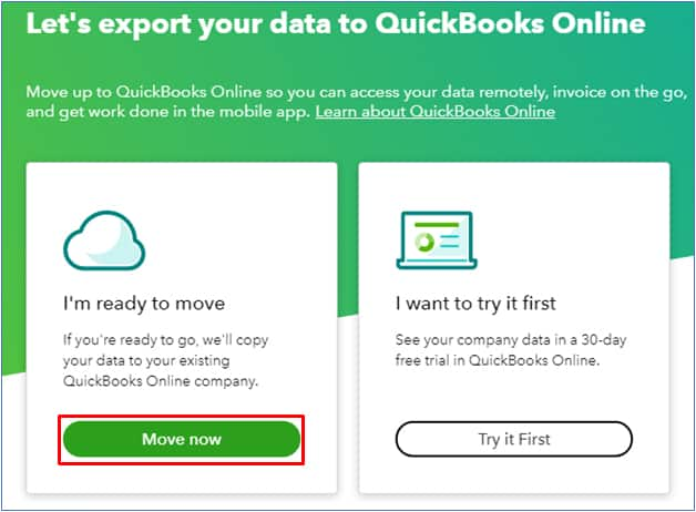 Screenshot of QuickBooks Desktop Preparing to Move Your Data