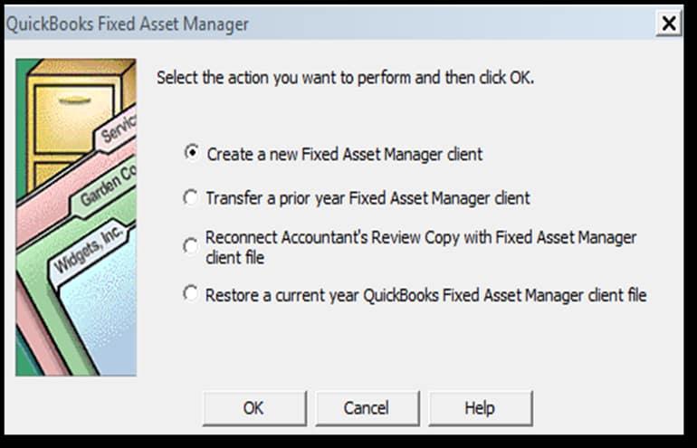 Screenshot of QuickBooks Enterprise Fixed Asset Manager