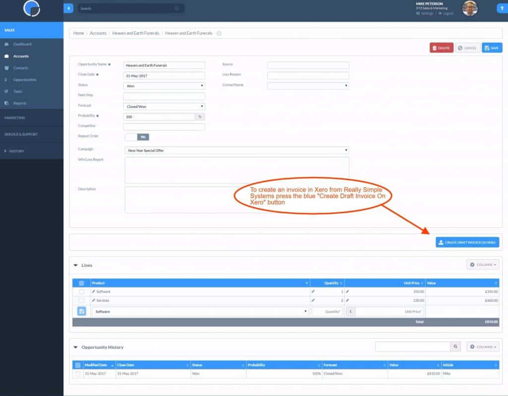 Screenshot of Really Simple_Systems_Creating Invoice From Xero