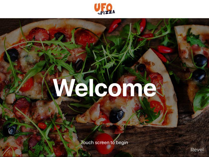 Revel Kiosk UFO Pizza Welcome Screen