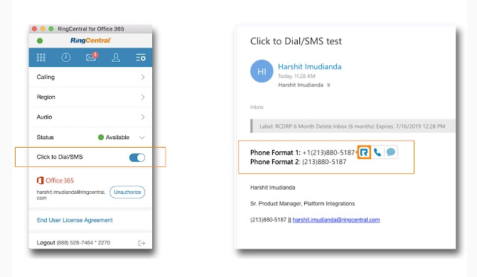 RingCentral and Microsoft 365 integration teams calls and messaging features
