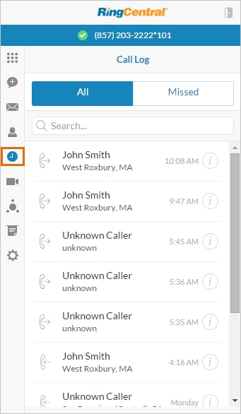 RingCentral call logs