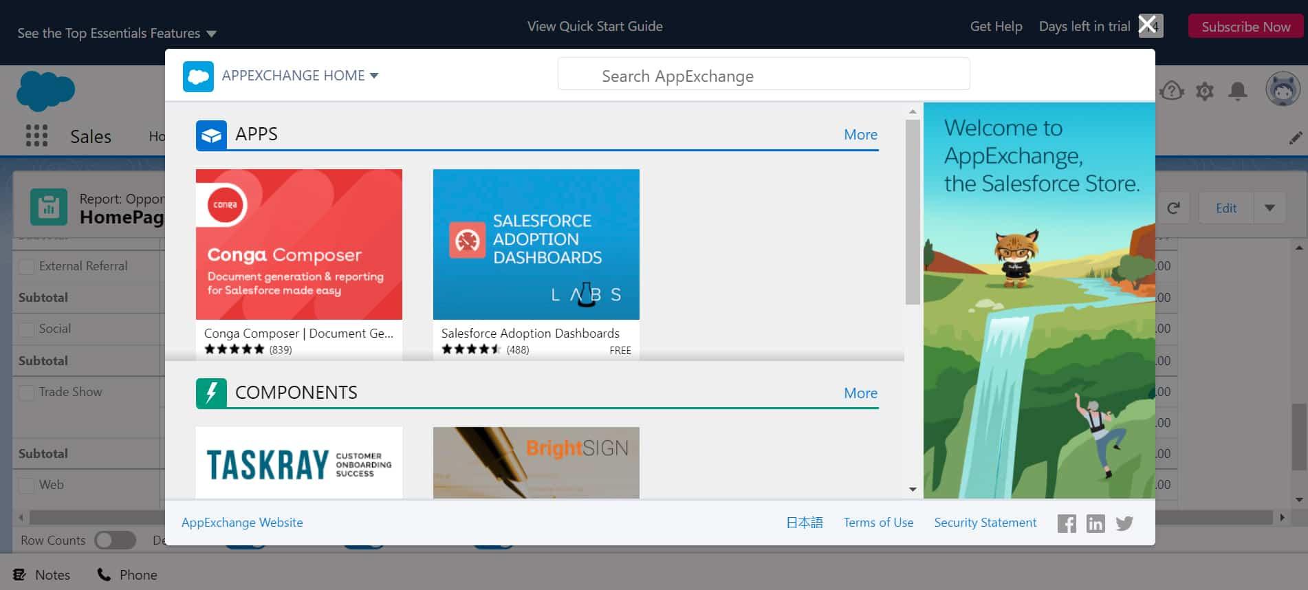 Screenshot of Salesforce AppExchange homepage