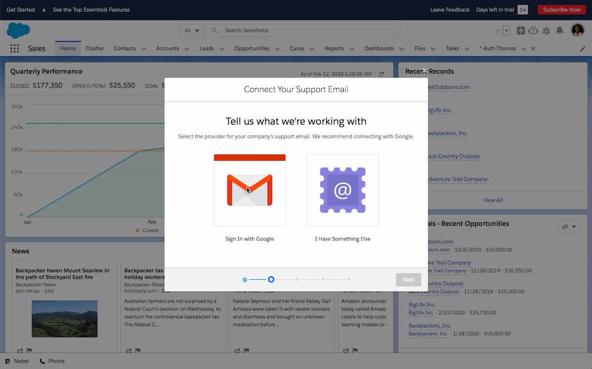 Screenshot of Salesforce Connecting with Gmail