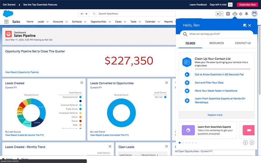 Salesforce Essentials sales pipeline dashboard