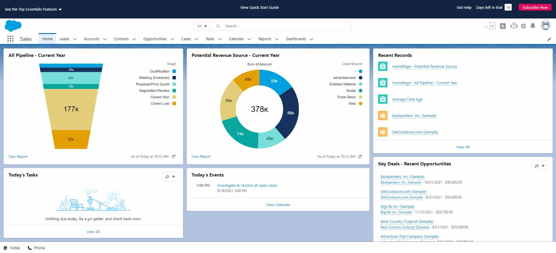 Screenshot of Salesforce Home tab in Sales app
