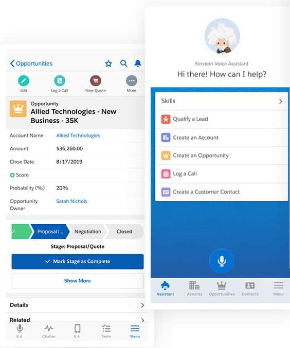 Screenshot of Salesforce mobile CRM app