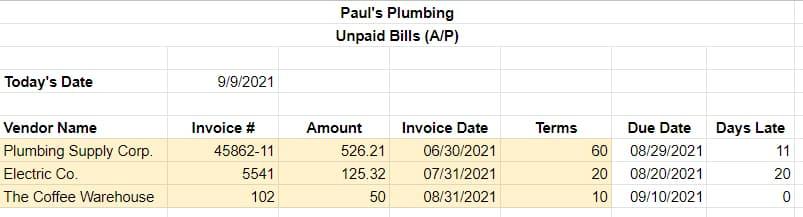 Screenshot of Sample A/P report in Excel
