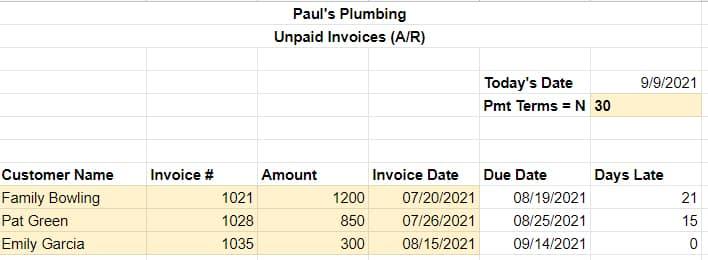 Sceenshot of Sample A/R report in Excel