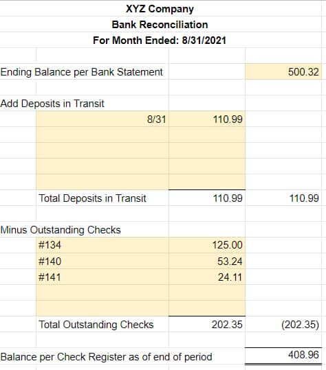 Screenshot of Sample Bank Reconciliation in Excel