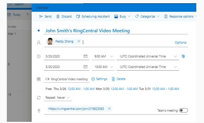 Schedule Meeting tab