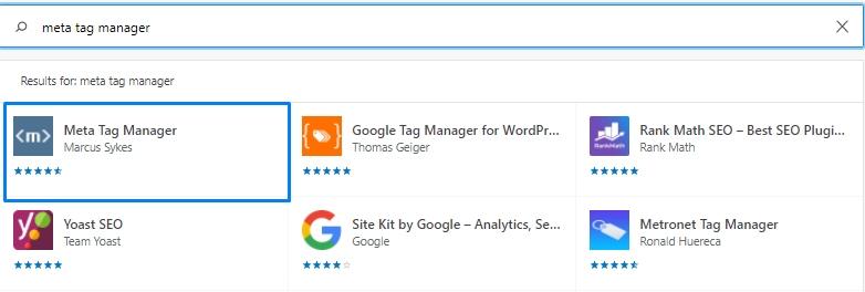 Search for Meta Tag Manager Plugin in WordPress