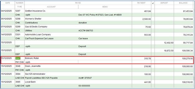 Select the payroll check to void in QuickBooks Desktop