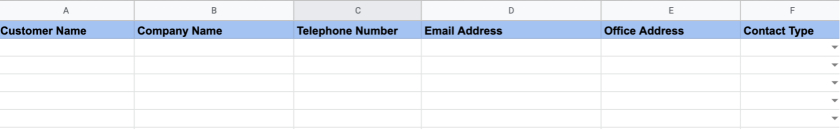 Set up The Column Headings of your CRM spreadsheet