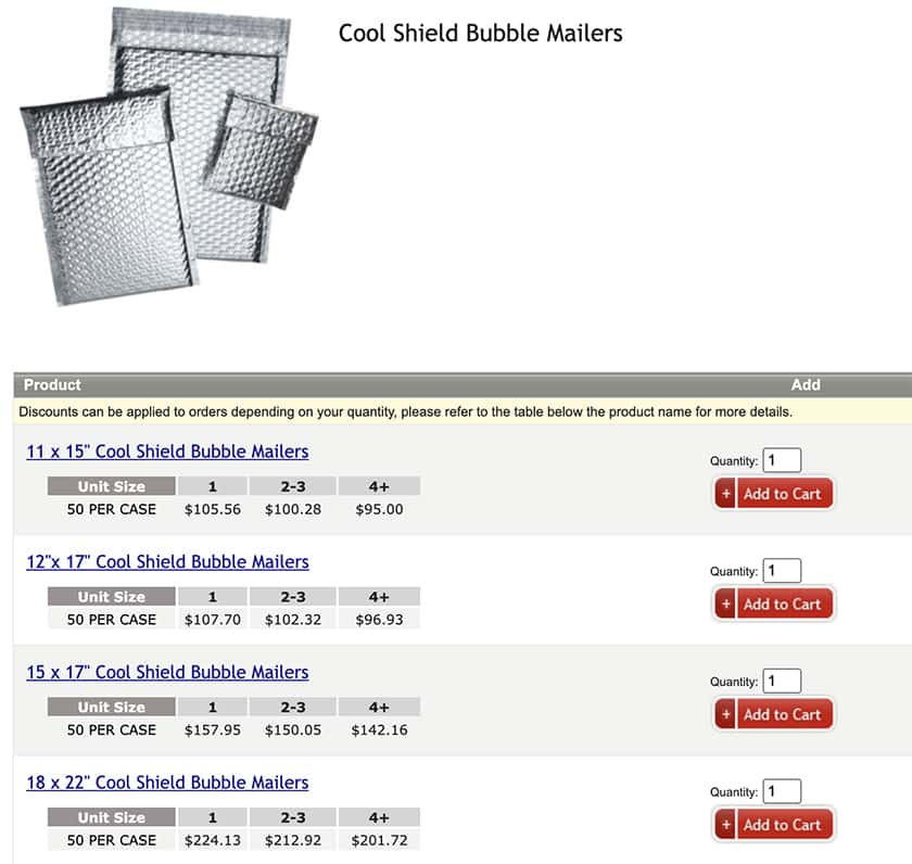 Screenshot of ShippingSupply priced products in sizes