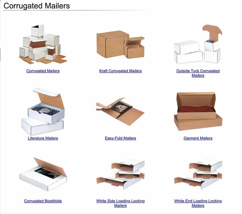Screenshot of ShippingSupply Corrugated Mailerz sample