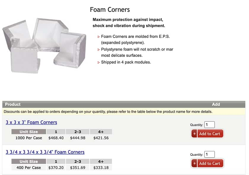 Screenshot of ShippingSupply Foam corners sample