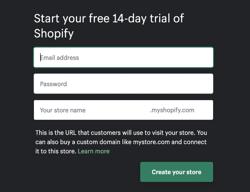 Shopify Signup Form