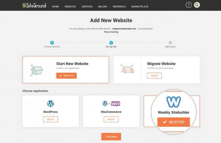 Screenshot of SiteGround Add New Website