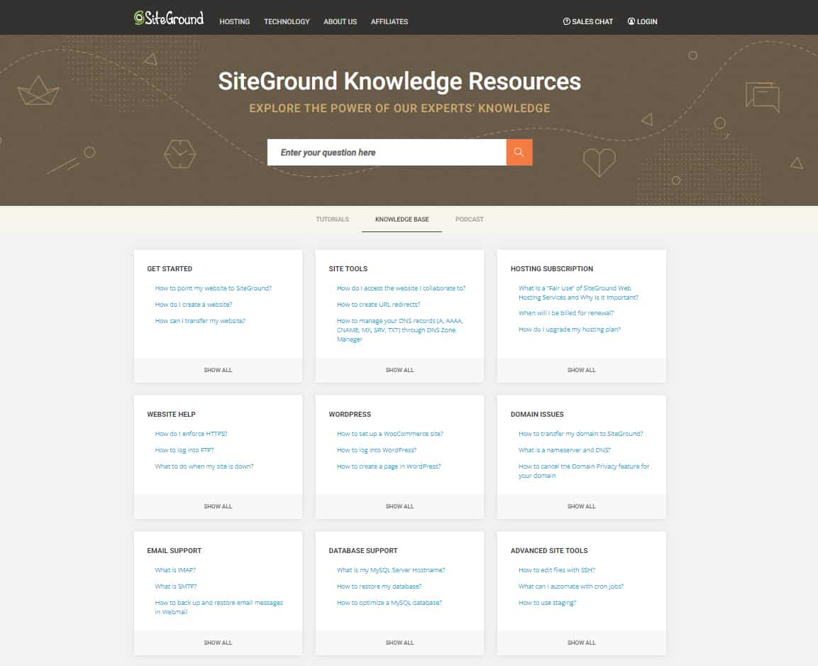 Screenshot of SiteGround Knowledge Resources Page