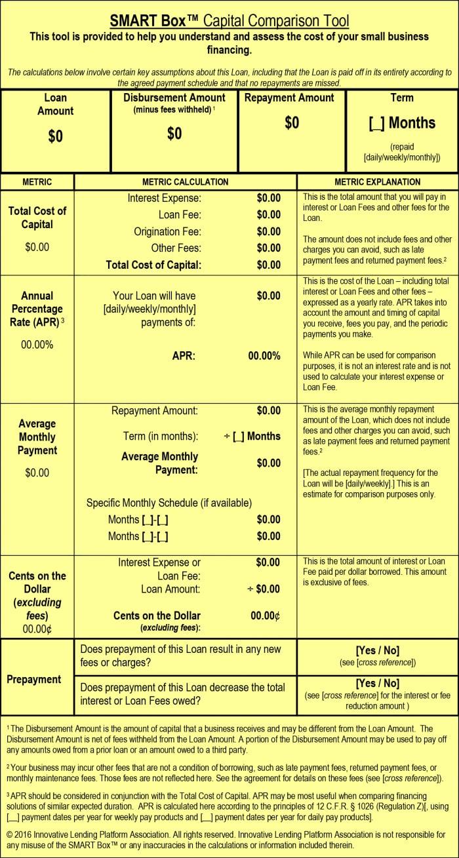 Screenshot of Smart BOx Capital Comparison Tool