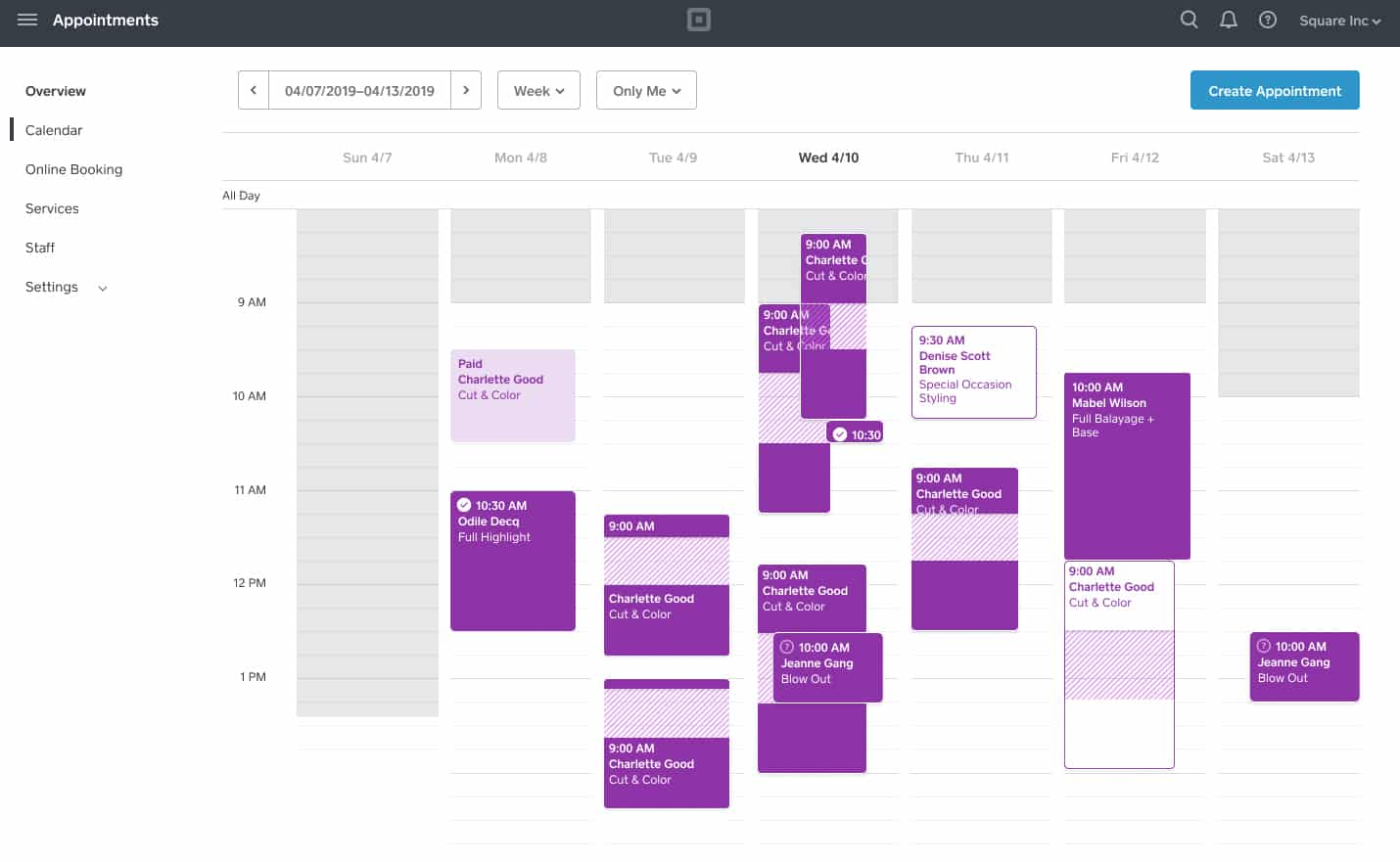 Screenshot of Square Create schedule appointment