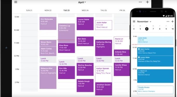 Screenshot of Square online calendar