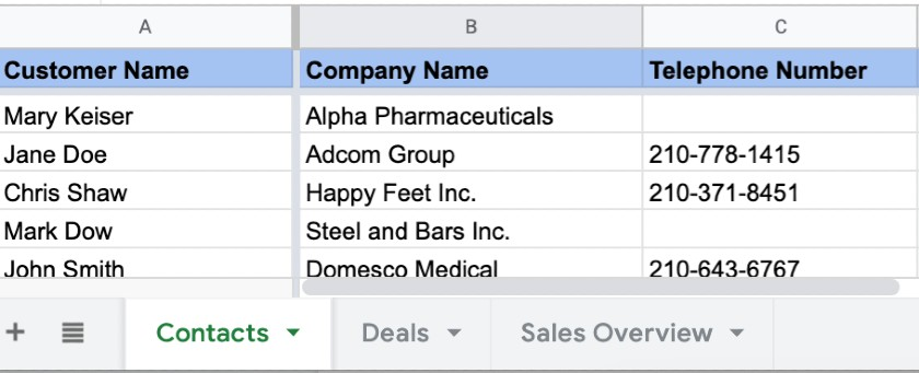 Tracking Sheets In Different Tabs