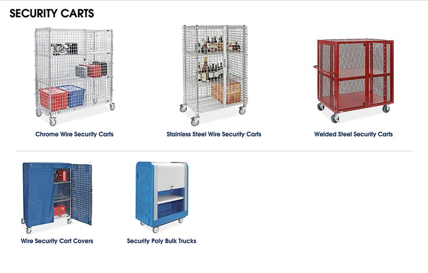 Screenshot of ULINE Security carts