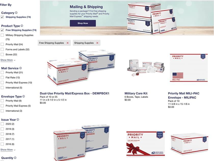 Screenshot of USPS website Store