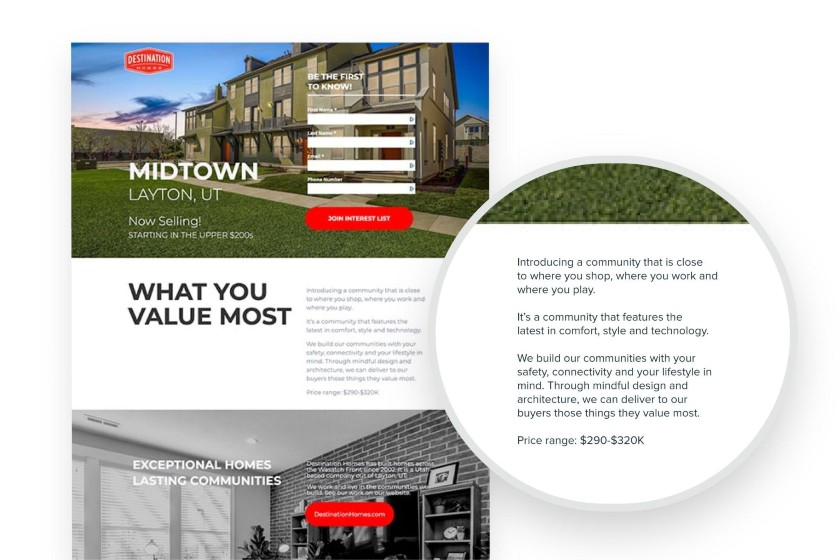 Unbounce real estate landing page example