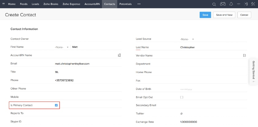 Zoho CRM Create Contact page