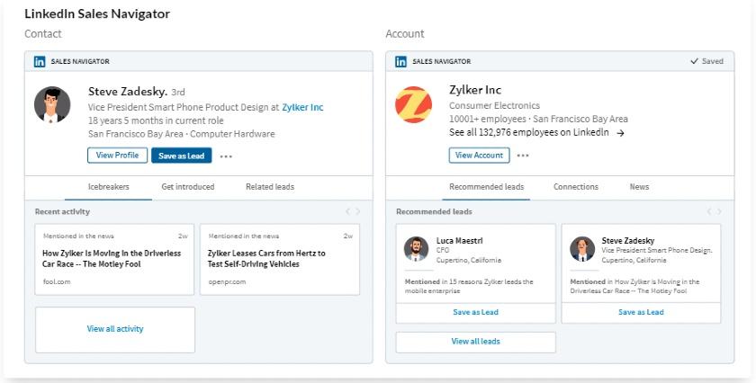 Zoho CRM's LinkedIn Sales Navigator