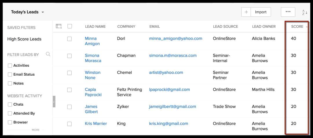 Screenshot of Zoho Lead Scoring