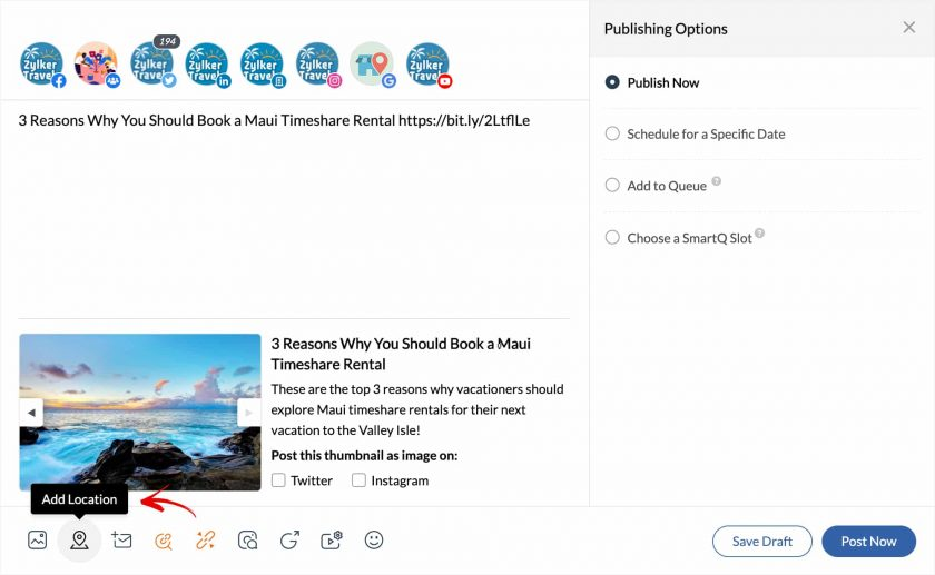 Screenshot of Zoho Publishing Tweet Page