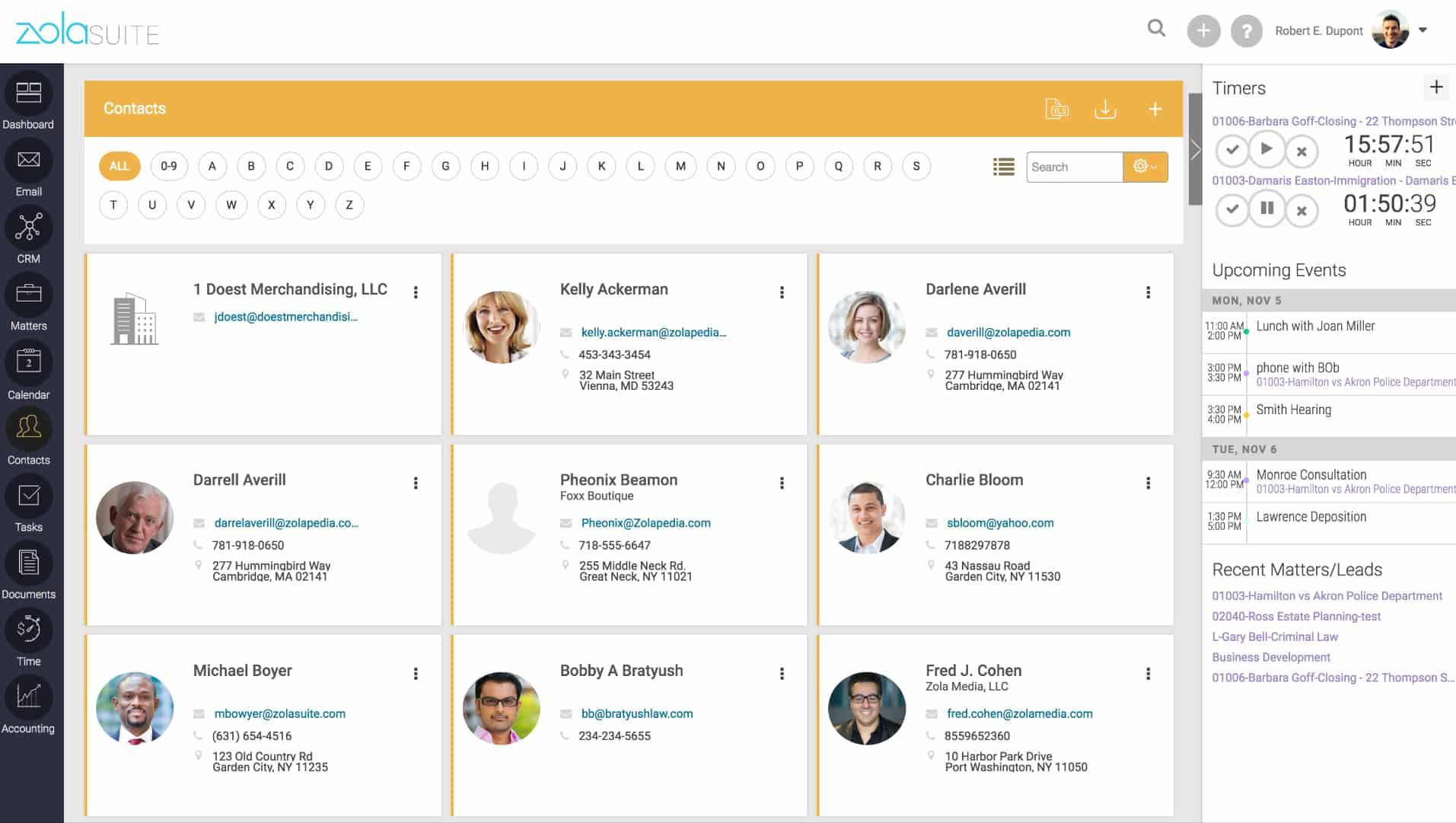 Screenshot of Zola Suite Contact Management Module