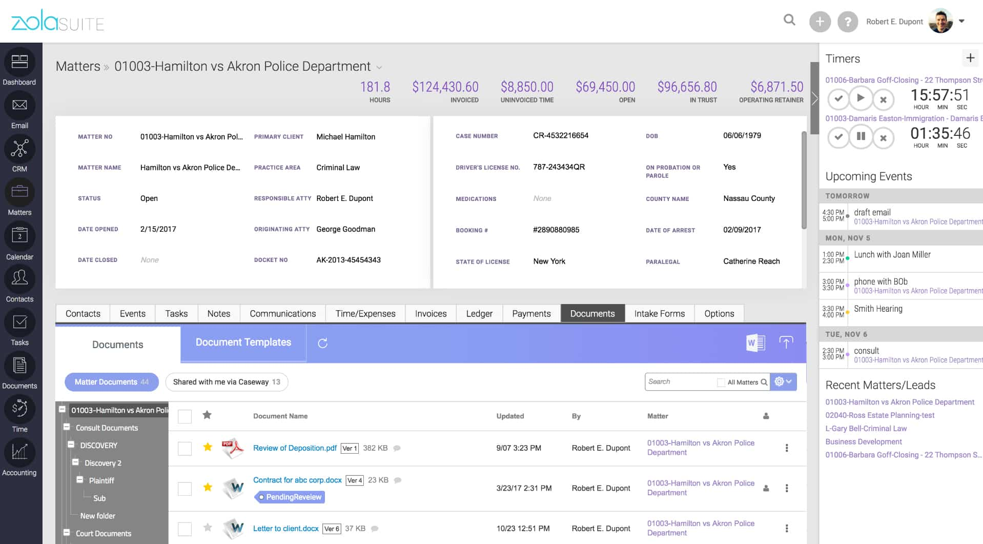 Screenshot of Zola Suite Matter Management Module