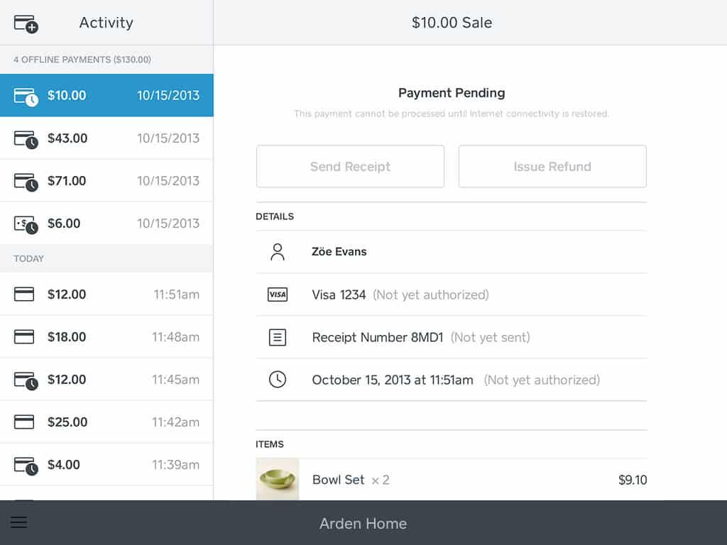 Screenshot of app payment history