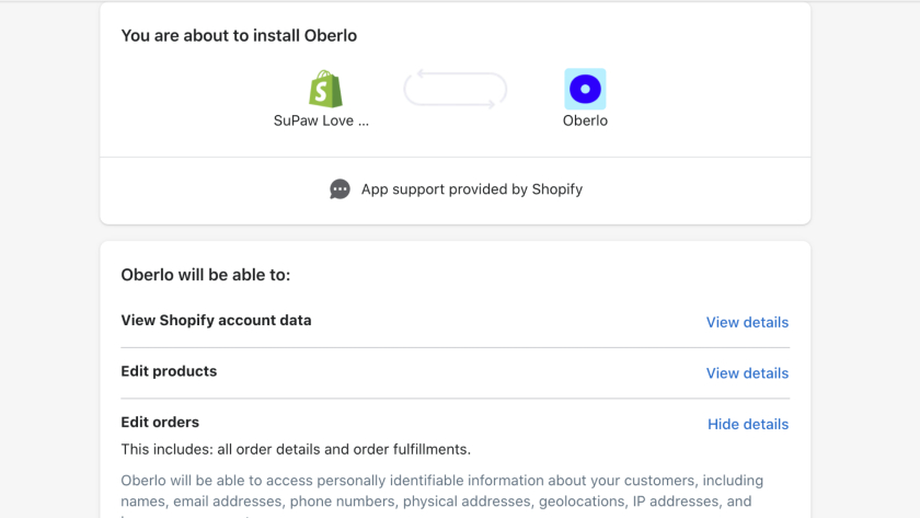 install Oberlo and connect to your Shopify store